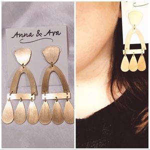 NWT Anna & Ava Chic Modern Gold Plated Earrings